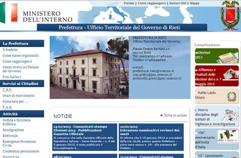 Sito istituzionale della Prefettura di Rieti