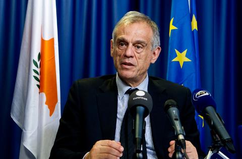 Bruxelles, 24 marzo: Michael Sarris, ministro delle finanze di Cipro, alla riunione dell'Eurogruppo