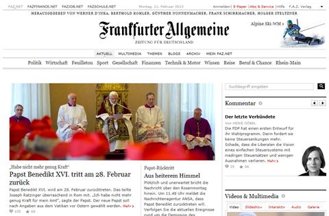 Frankfurter Allgemeine: la testata giornalistica tedesca dà l'annuncio della rinuncia del Papa