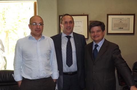 Paolo Mutti, amministratore della Solsonica, Alessandro Di Venanzio, presidente PI Unindustria Rieti e Angelo Camilli, presidente PI Unindustria